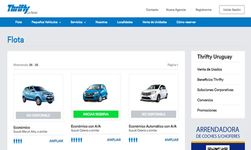 thriffi rent a car Uruguay